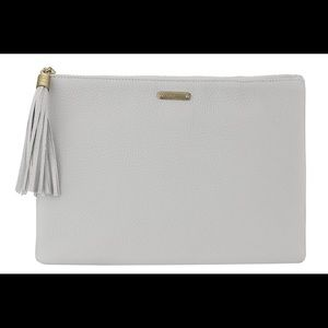 GiGi New York gray pebbled leather uber clutch
